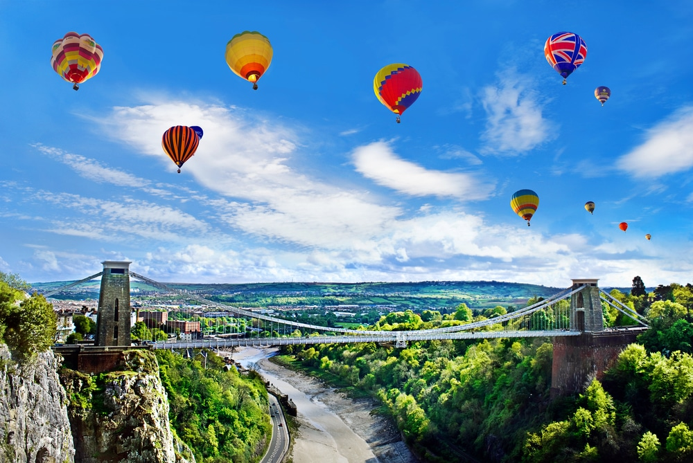 Bristol Clifton Suspension Bridge with Air Balloons